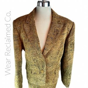 Vintage Tapestry Business Skirt Suit   Box Blazer